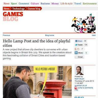 hello lamp post article in guardian tech blog