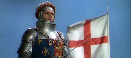 Man in armour with St George's flag