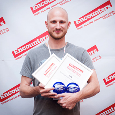 Daniel Chisholm picking up one of his two DepicT! '14 awards - Image by Jon Craig