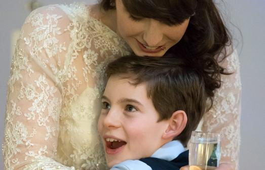 Bride and child at Watershed wedding