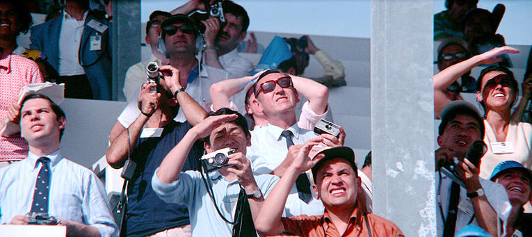 Spectators of the Apollo 11 launch looking up at the sky