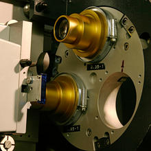 Close up of 35mm film projector