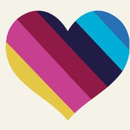 Illustration with a hear shape and stripes of colour in it