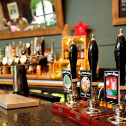Ale pumps in the Watershed Café/Bar