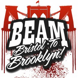 BEAM: Bristol to Brooklyn words with a bridge in the background