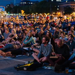 Audiences at an outdoor screening at Cinema Rediscovered, our annual film festival