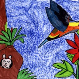 Painting of a humming bird