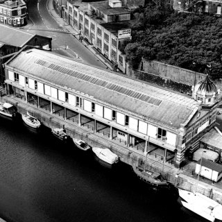 Black and white exterior photo of Watershed in 1980