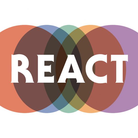 REACT logo - overlapping coloured circles