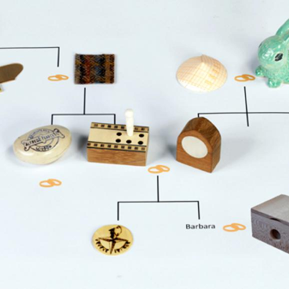 objects connected by a family tree of lines