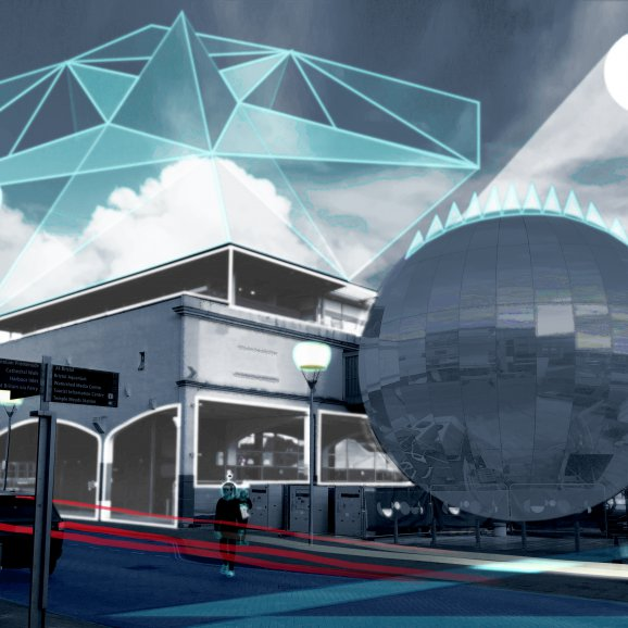 Futuristic landscape drawn on top of Millennium Square