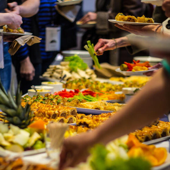 Photo of a food buffet at a Watershed event