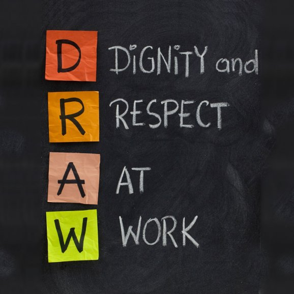 Dignity and respect at work, drawn on a blackboard