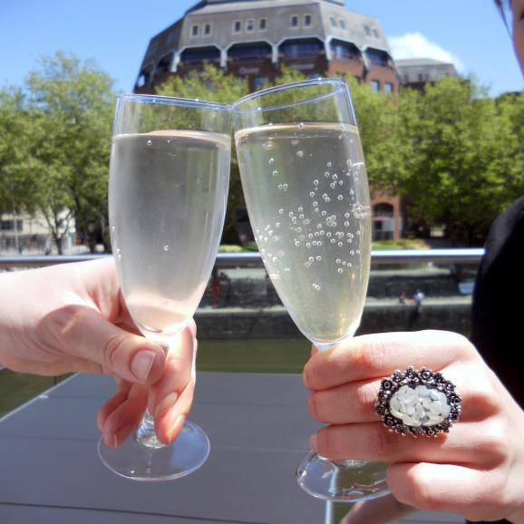 A glass of fizz on the balcony