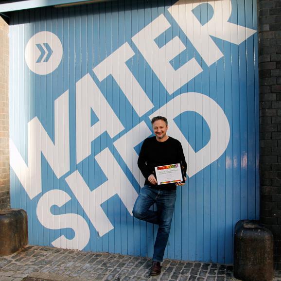 Our Executive Chef Oliver Pratt with our PETA award