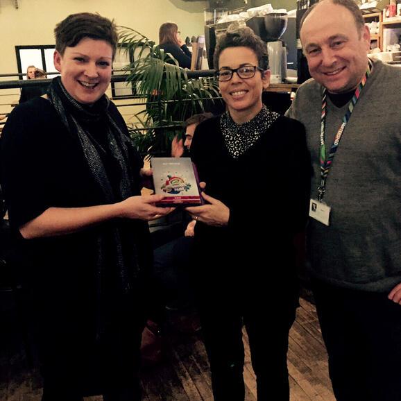 Clare Reddington, Creative Director and Mark Cosgrove, Cinema Curator accept the Award from Jayne Graham-Cummings of Pride