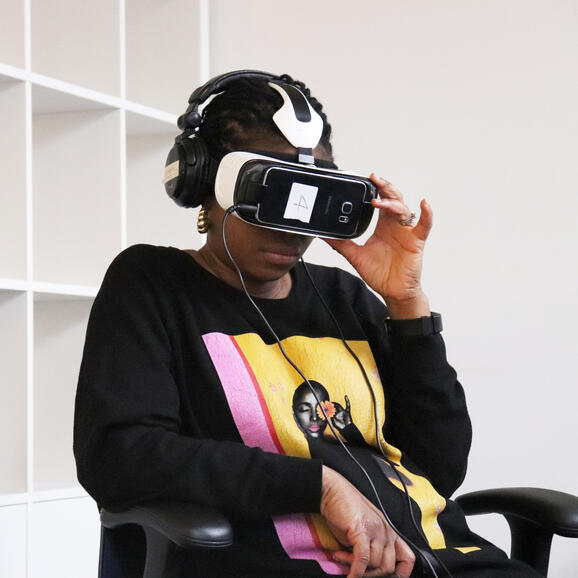 Trying out a VR headset