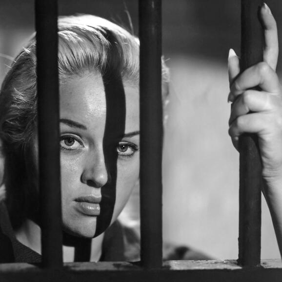 Diana Dors behind bars in Yield to the Night
