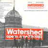 Cover of Watershed's first brochure with black & white photo of the building and text saying Watershed opens June 7th 1982