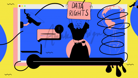 Illustration by Stacey Olika for The Fight for Data Rights, an article highlighting actions we can take as a community to impro
