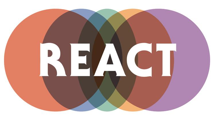REACT logo - overlapping coloured circles