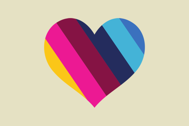 Outline of a heart with coloured stripes in it