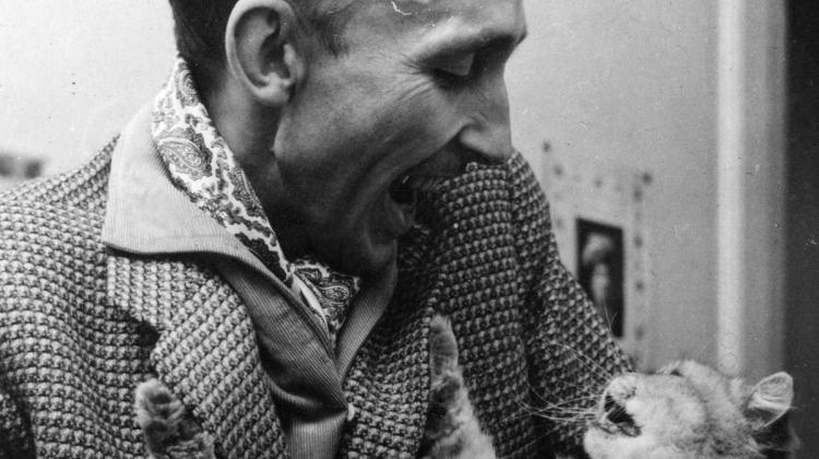 André Bazin and cat