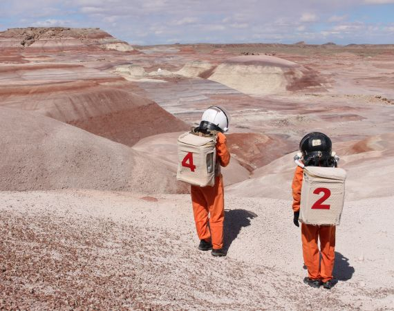 Image of artists Ella Good and Nicki Kent at the Mars Desert Research Station in Utah.