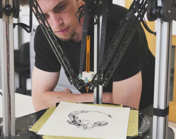 Paul O'Dowd with his drawing robot