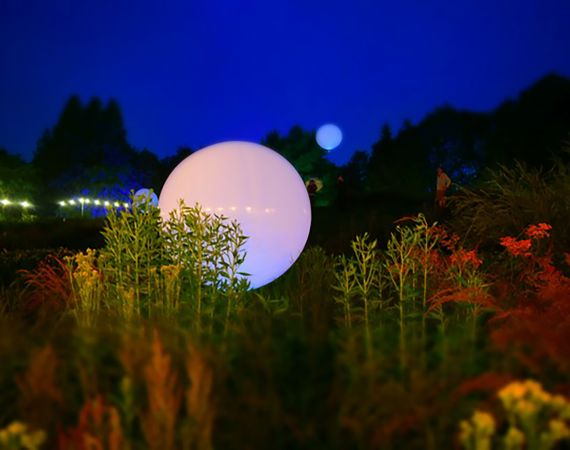 Image of a false moon in a garden after dark