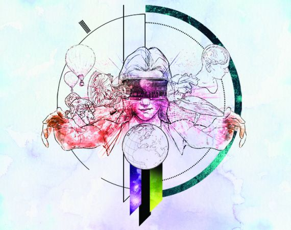 Artwork featuring a woman doing a VR experience
