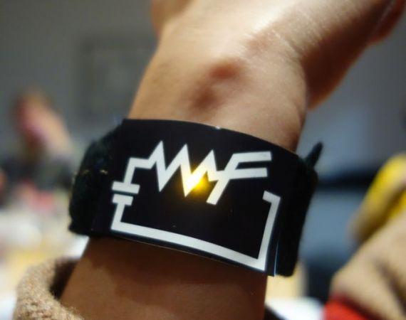 """Picture of a women wearing a """"WF"""" bracelet"""